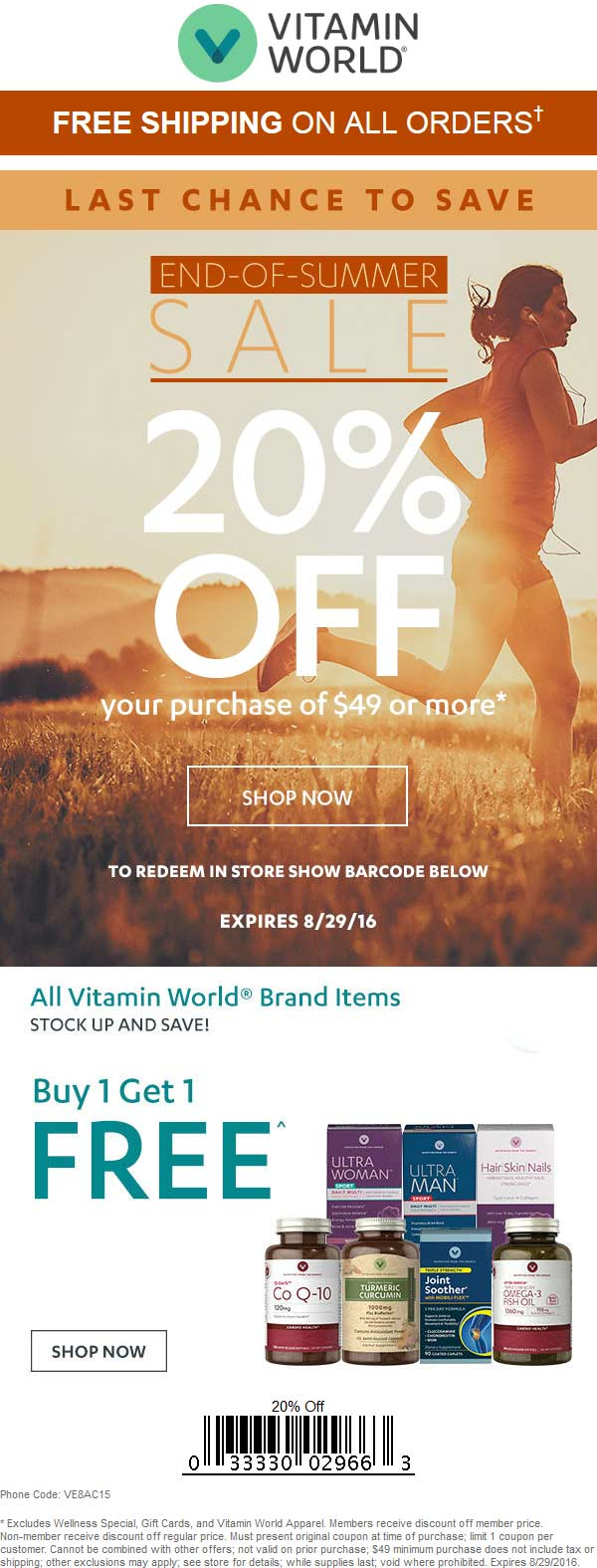 Vitamin World Coupon June 2017 20% off $49 & more today at Vitamin World, ditto online