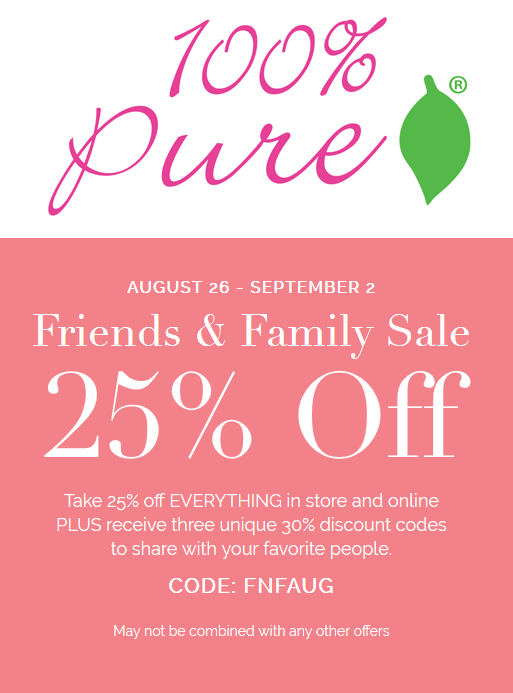 100% Pure Coupon December 2018 25% off at 100% Pure cosmetics, or online via promo code FNFAUG