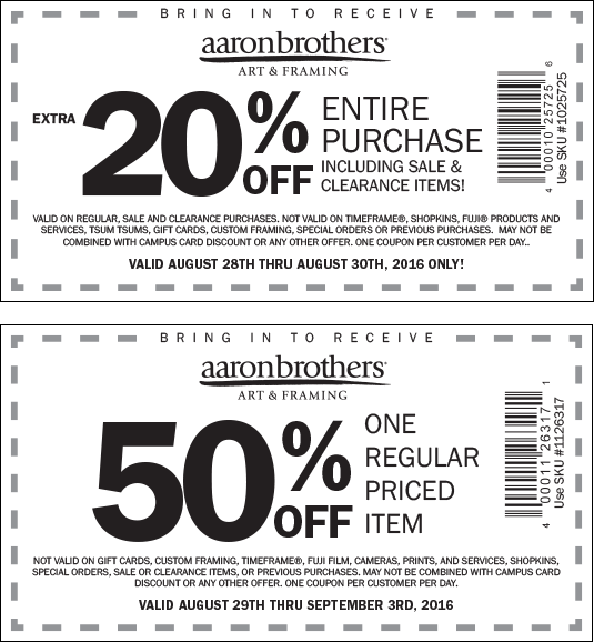 Aaron Brothers Coupon March 2017 50% off a single item at Aaron Brothers