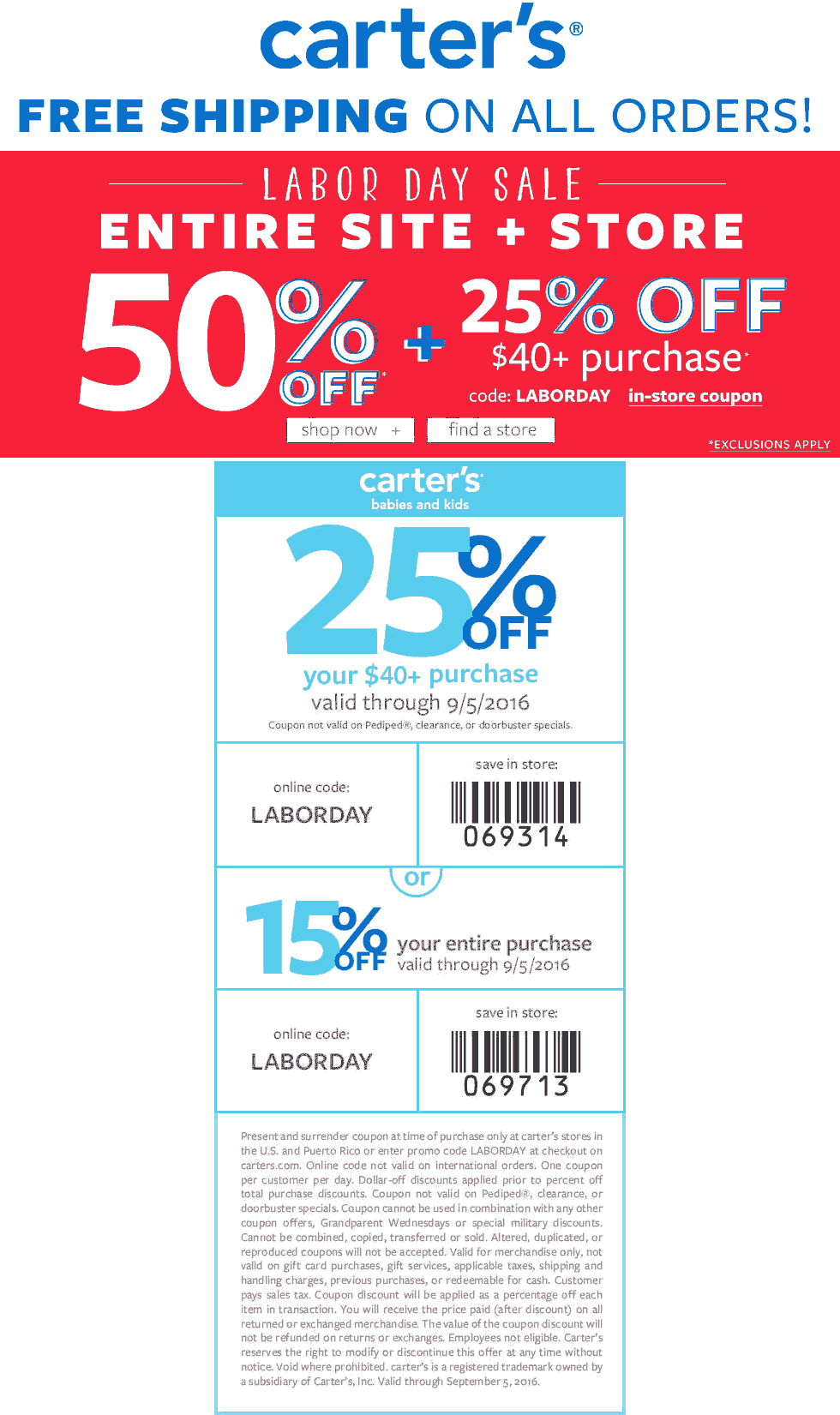 Carters Coupon March 2017 50% off everything + another 25% off $40 at Carters, or online via promo code LABORDAY