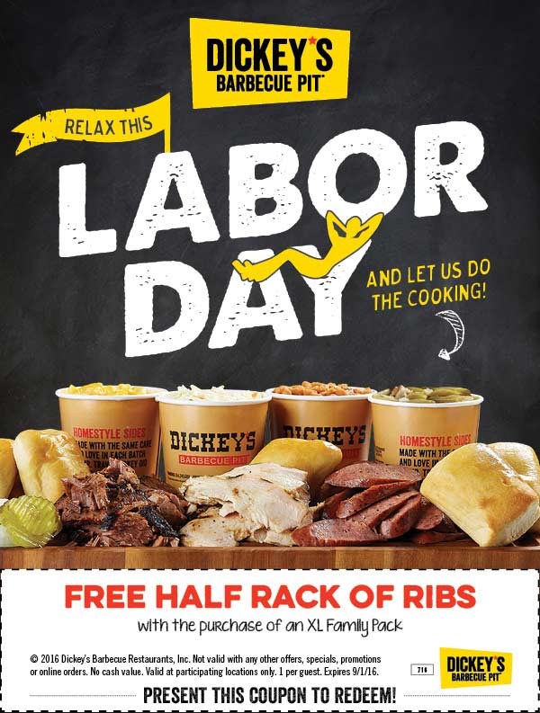 Dickeys Barbecue Pit Coupon June 2017 Free half rack ribs with your family pack at Dickeys Barbecue Pit restaurants
