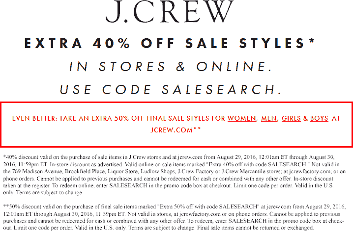 J.Crew Coupon October 2016 40% off sale, 50% off clearance today at J.Crew, or online via promo code SALESEARCH