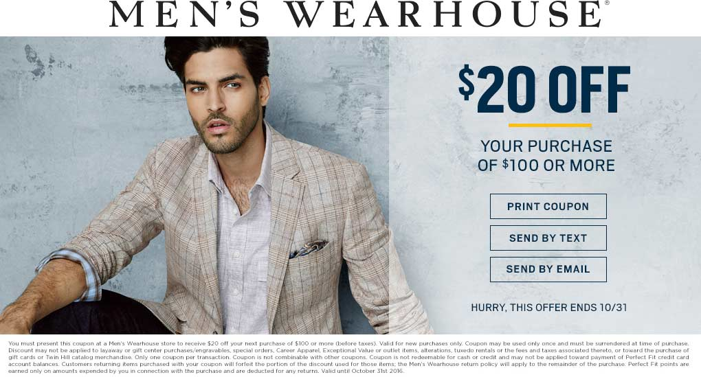 Mens Wearhouse Coupon October 2016 $20 off $100 at Mens Wearhouse