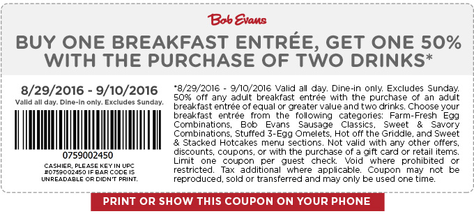 Bob Evans Coupon November 2017 Second breakfast 50% off at Bob Evans