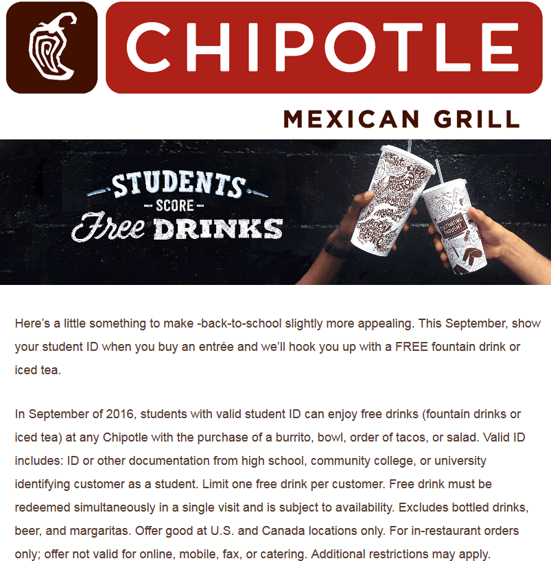 Chipotle Coupon March 2018 Students enjoy a free drink with their entree at Chipotle