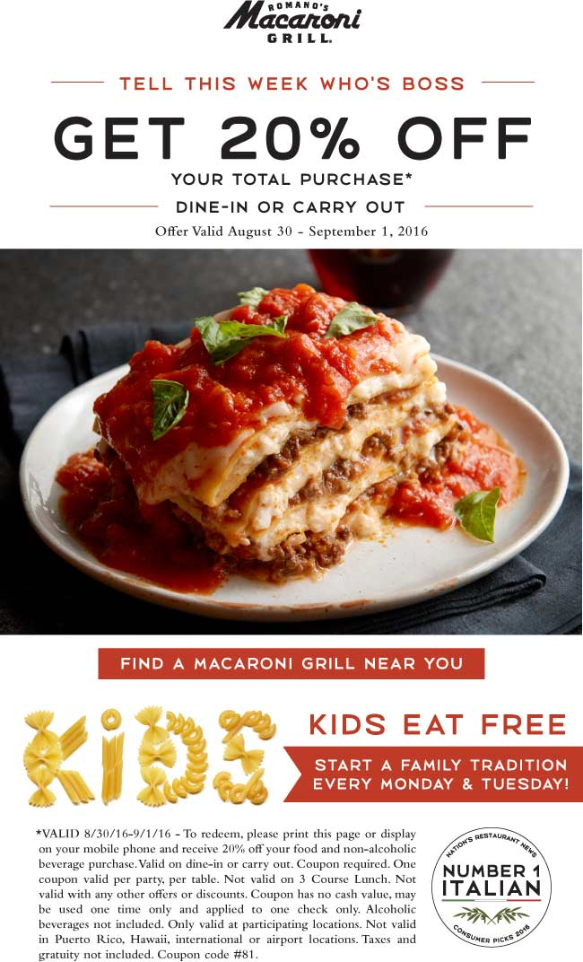 Macaroni Grill Coupon January 2017 20% off at Macaroni Grill restaurants