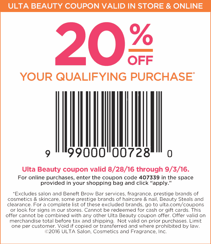 Ulta Beauty Coupon December 2016 20% off at Ulta Beauty, or online via promo code 407339