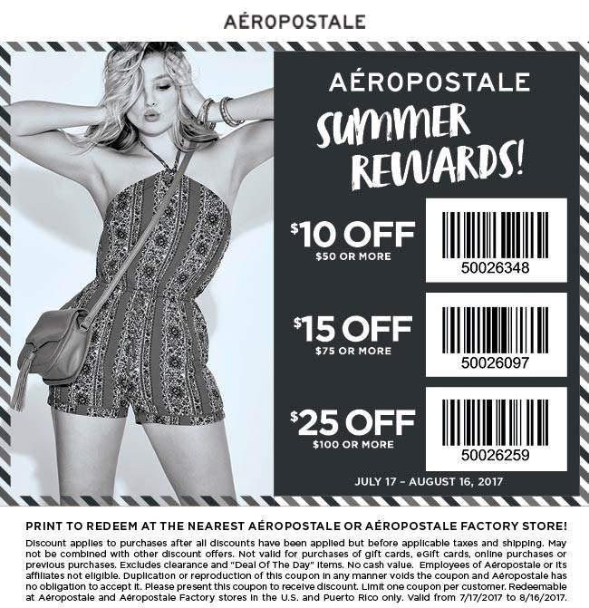 Aeropostale Coupon January 2018 $10 off $50 & more at Aeropostale
