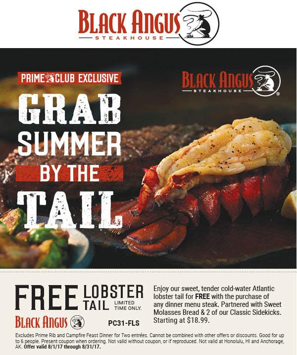 Black Angus Coupon October 2018 Free lobster with your steak at Black Angus steakhouse