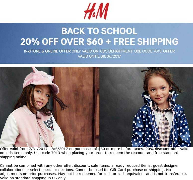 H&M Coupon October 2018 Kids items are 20% off $60 at H&M, or online via promo code 7013