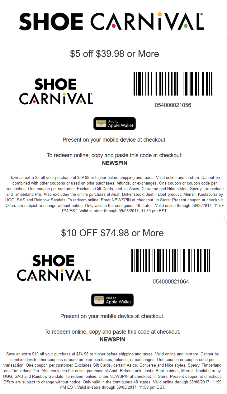 Shoe Carnival Coupon October 2018 $5-$10 off $40+ at Shoe Carnival, or online via promo code NEWSPIN