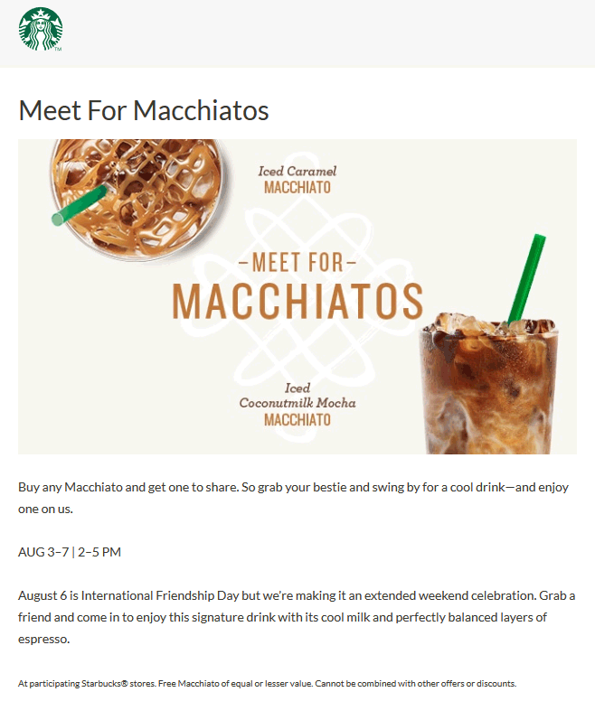 Starbucks Coupon July 2018 Second Macchiato free 2-5p thru Monday at Starbucks