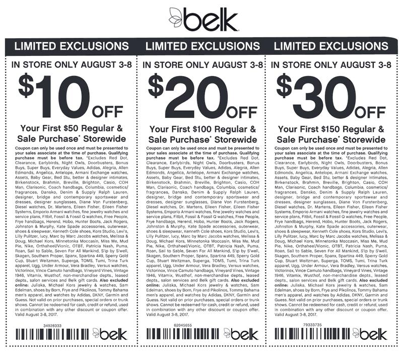 Belk Coupon August 2018 $10 off $50 & more at Belk, or online via promo code 58781002