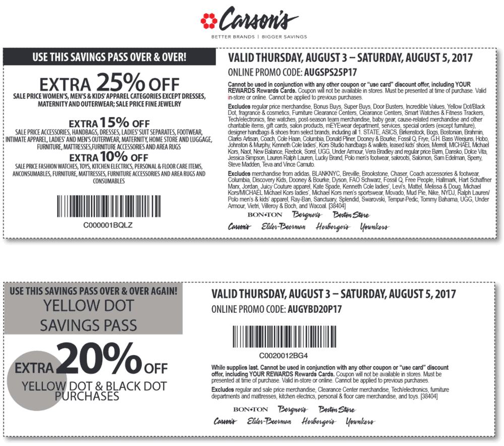 Carsons Coupon December 2018 Extra 25% off sale items today at Carsons, Bon Ton & sister stores, or online via promo code AUGSPS25P17