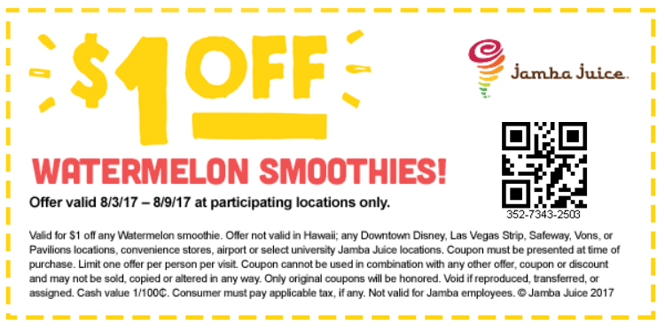 JambaJuice.com Promo Coupon Shave a buck off your watermelon smoothie at Jamba Juice