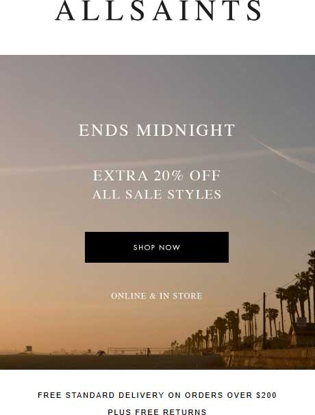 All Saints Coupon October 2018 Extra 20% off sale items today at All Saints, ditto online