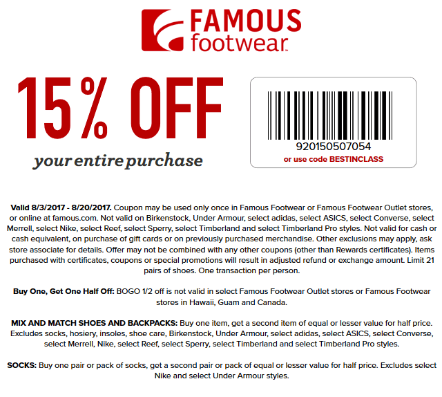 Famous Footwear Coupon March 2019 15% off at Famous Footwear, or online via promo code BESTINCLASS