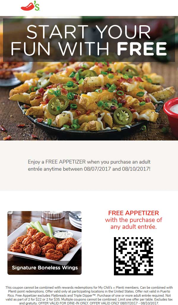 Chilis Coupon October 2018 Free appetizer with your entree at Chilis