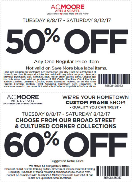 A.C. Moore Coupon March 2019 50% off a single item & more at A.C. Moore