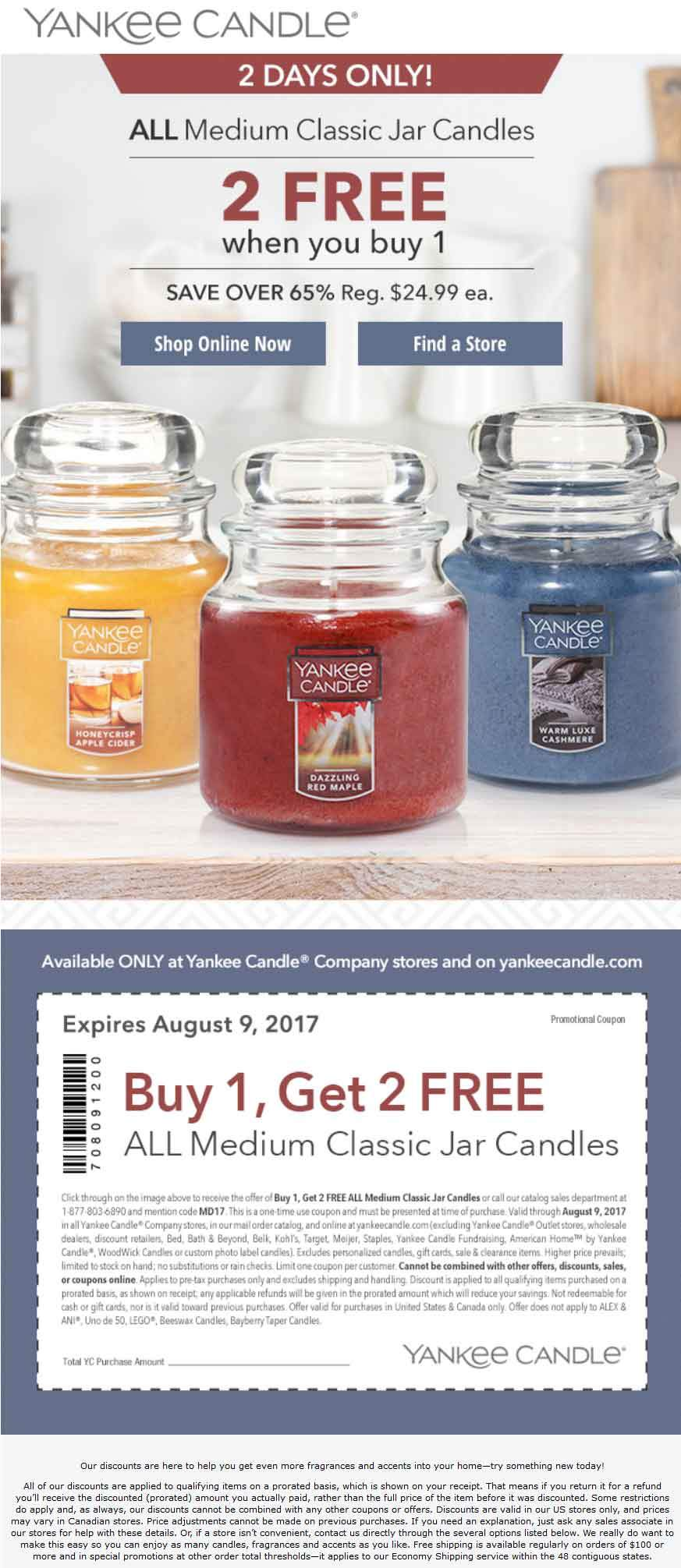 Yankee Candle Coupon October 2018 3-for-1 on medium candles today at Yankee Candle, or online via promo code MD17