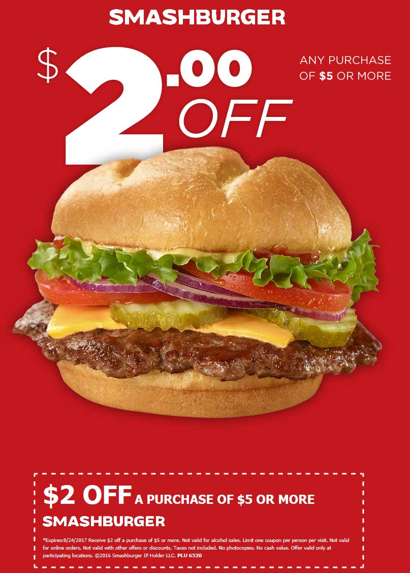 Smashburger.com Promo Coupon $2 off $5 at Smashburger restaurants