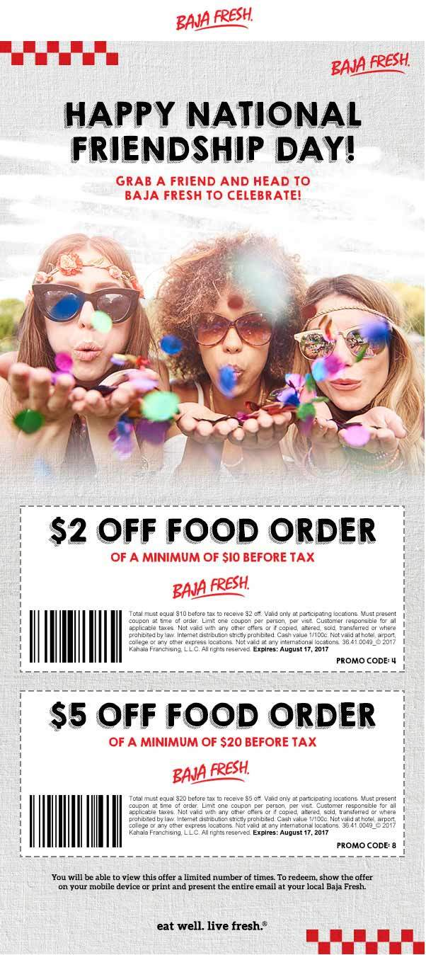 Baja Fresh Coupon February 2018 $2-$5 off $10+ at Baja Fresh restaurants