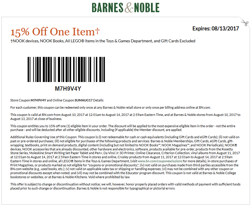 Barnes & Noble Coupon January 2018 15% off at Barnes & Noble, or online via promo code SUMAUG17