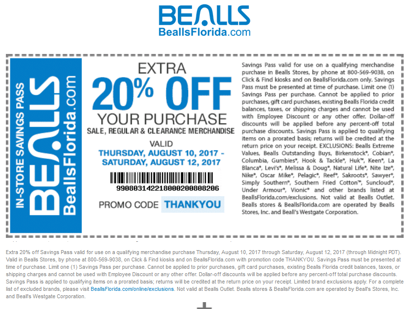 Bealls Coupon June 2018 Extra 20% off at Bealls, or online via promo code THANKYOU