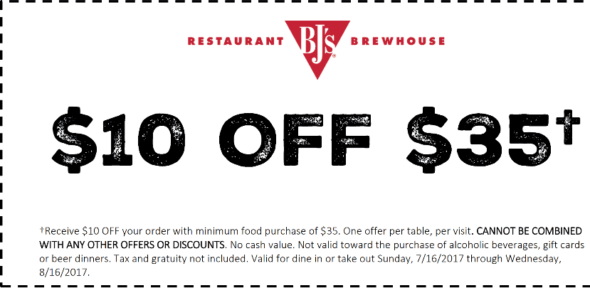 BJs Restaurant Coupon September 2017 $10 off $35 at BJs Restaurant brewhouse