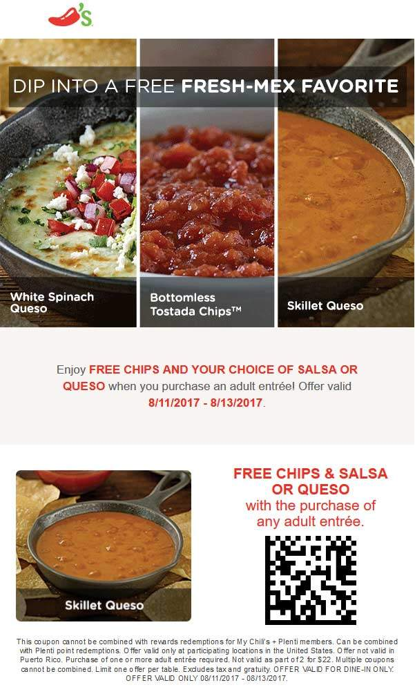 Chilis Coupon July 2018 Free chips & queso with your entree at Chilis