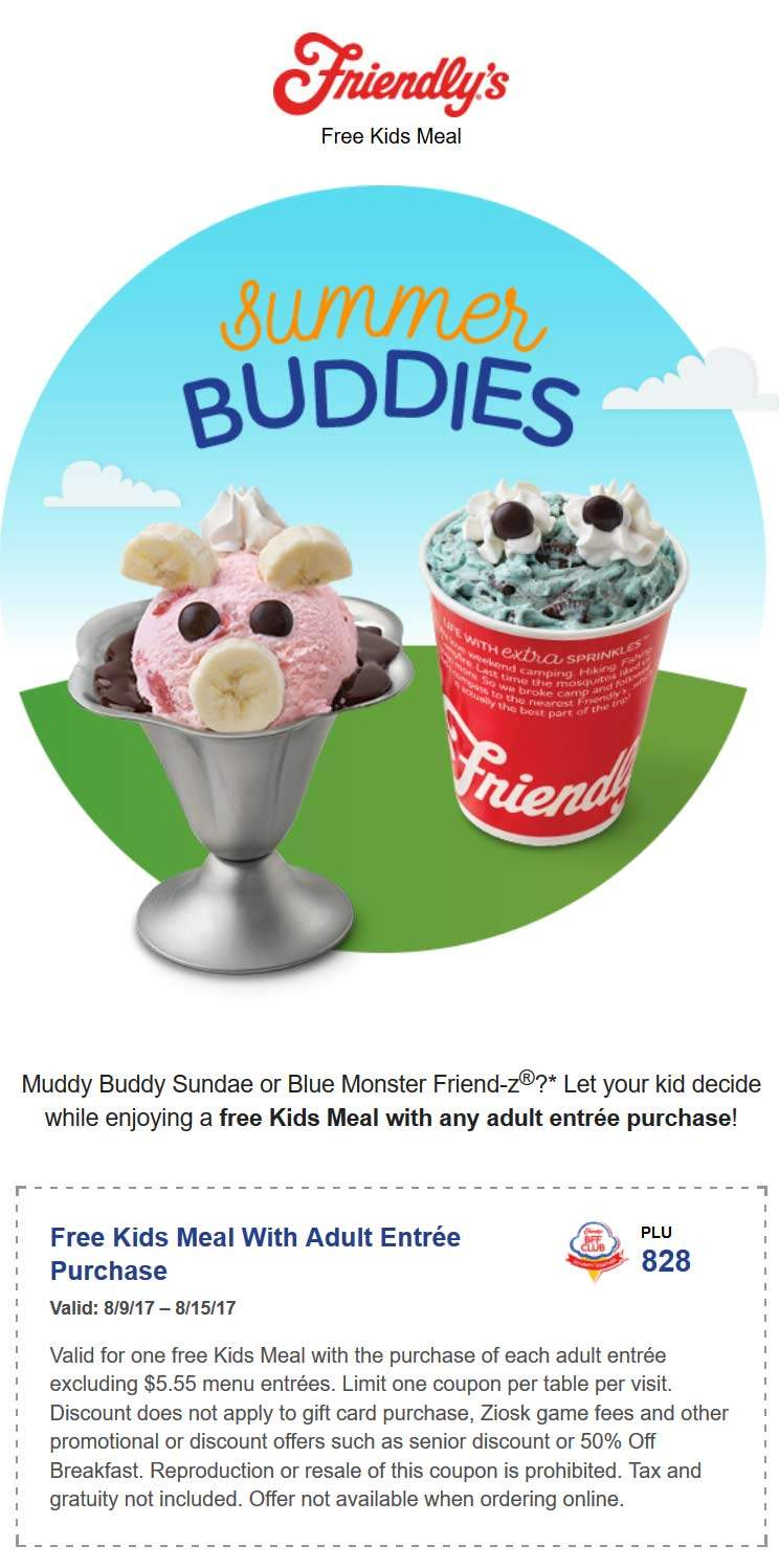 Friendlys Coupon March 2018 Free kids meal with yours at Friendlys