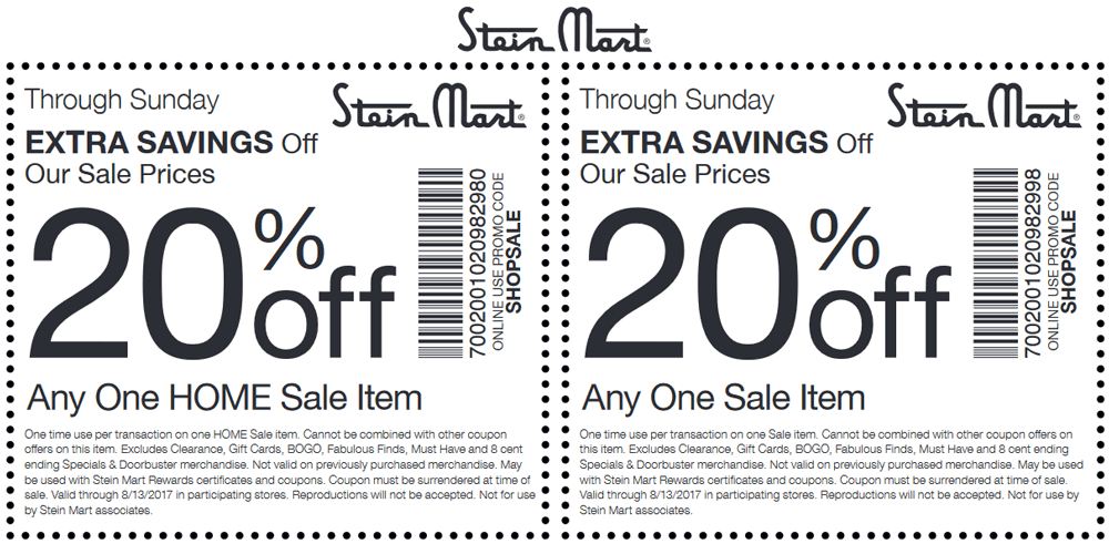Stein Mart Coupon October 2017 Extra 20% off a sale item at Stein Mart, or online via promo code SHOPSALE
