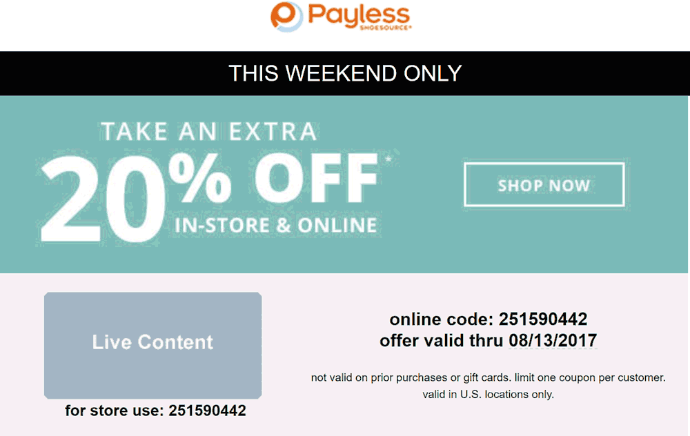Payless Shoesource Coupon December 2018 Extra 20% off at Payless Shoesource, or online via promo code 251590442