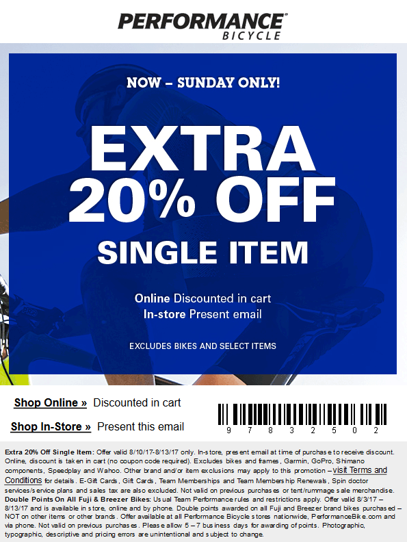 Performance Bicycle Coupon August 2018 Extra 20% off a single item at Performance Bicycle, ditto online