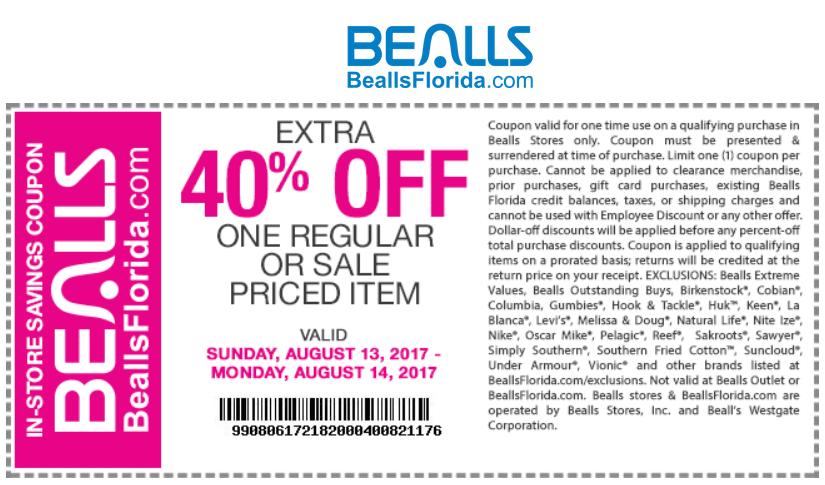 Bealls.com Promo Coupon Extra 40% off a single item today at Bealls