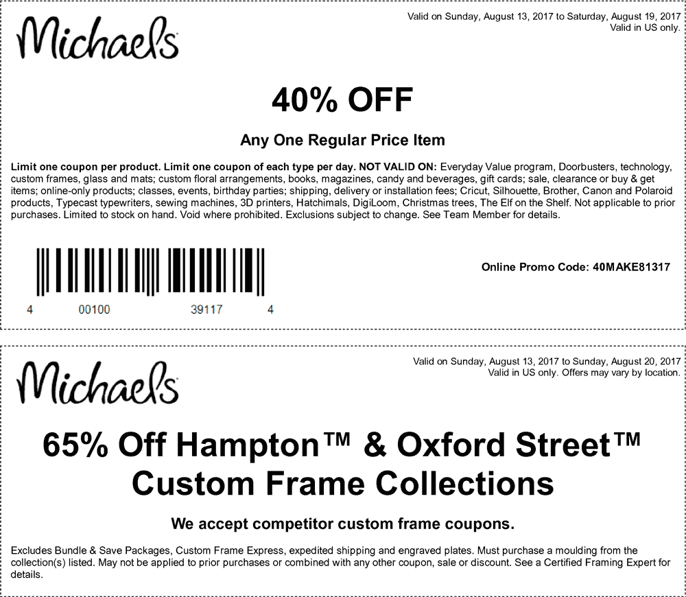 Michaels Coupon September 2017 40% off a single item at Michaels, or online via promo code 40MAKE81317