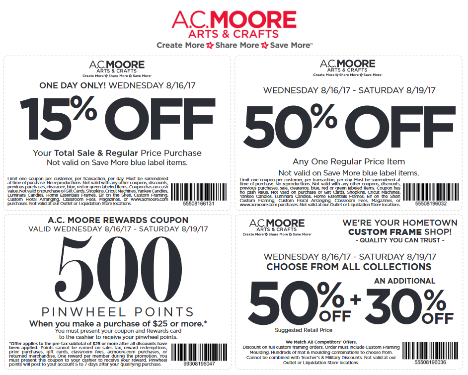 A.C. Moore Coupon September 2017 50% off a single item at A.C. Moore crafts