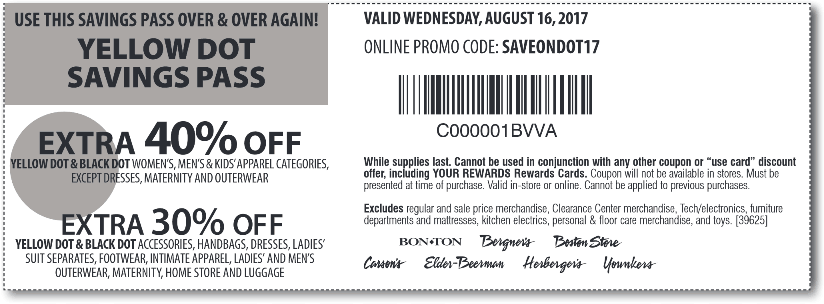 Carsons Coupon August 2018 Extra 30-40% off yellow dot items at Carsons, Bon Ton & sister stores, or online via promo code SAVEONDOT17