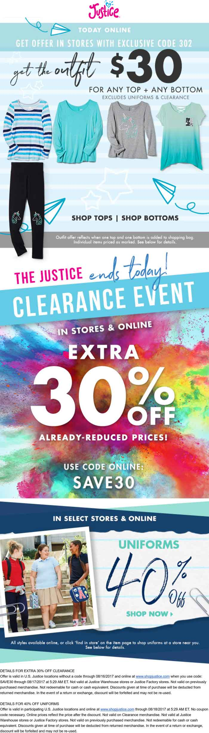 Justice Coupon March 2018 Extra 30% off clearance today at Justice, or online via promo code SAVE30