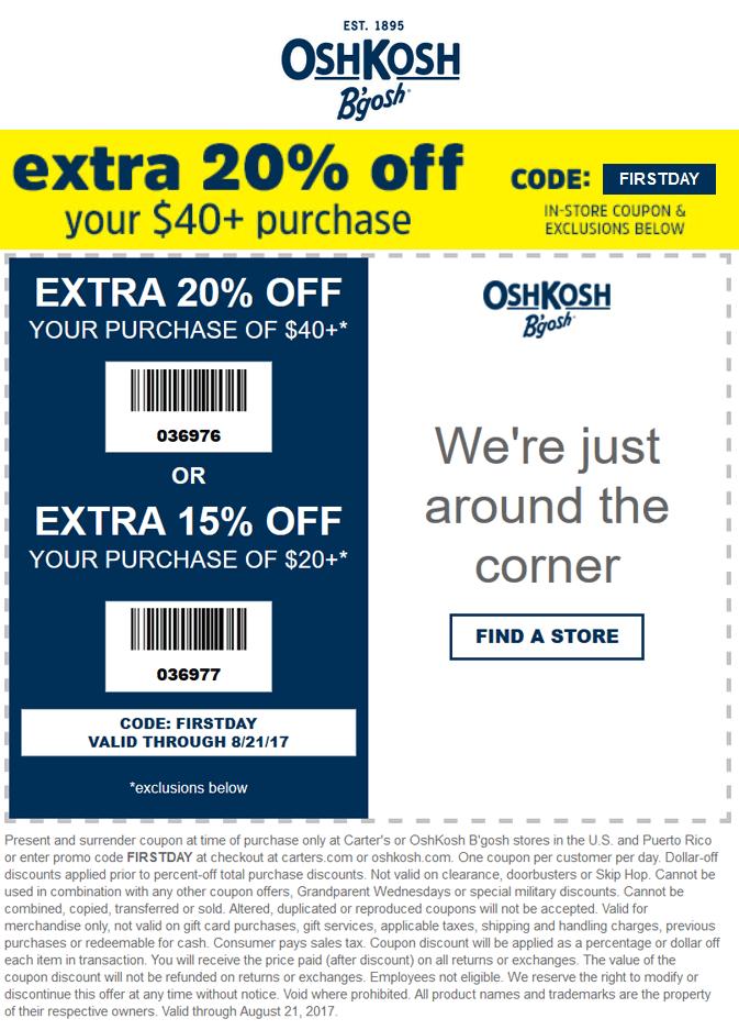 OshKoshBgosh.com Promo Coupon 15-20% off $20+ at OshKosh Bgosh, or online via promo code FIRSTDAY