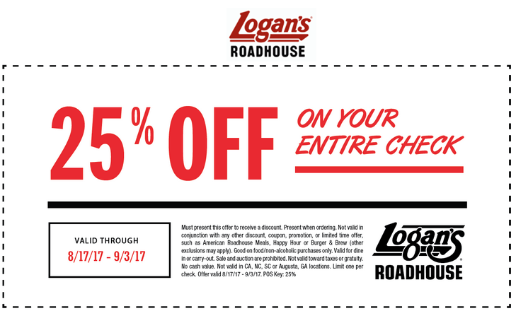 Logans Roadhouse Coupon October 2017 25% off at Logans Roadhouse restaurants