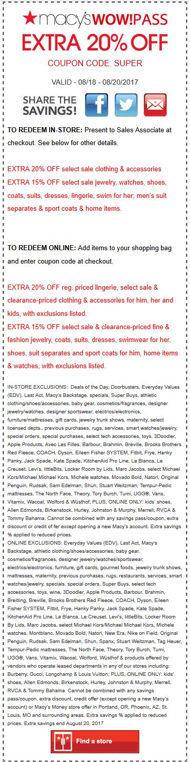 Macys.com Promo Coupon Extra 20% off at Macys, or online via promo code SUPER