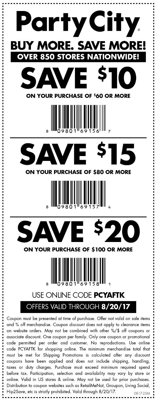 Party City Coupon November 2017 $10 off $60 & more at Party City, or online via promo code PCYAFTK
