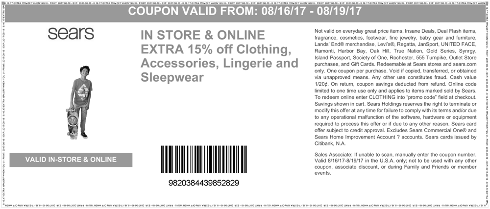 Sears Coupon October 2018 Extra 15% off apparel at Sears, or online via promo code CLOTHING