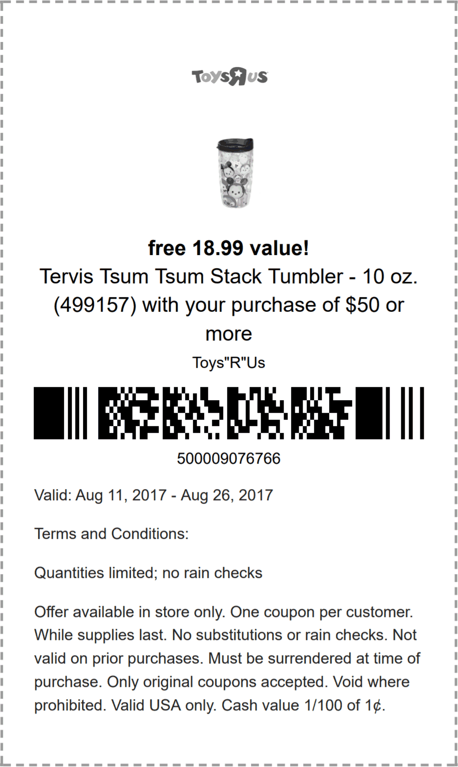Toys R Us Coupon July 2018 $19 Tervis tumbler free with $50 spent at Toys R Us