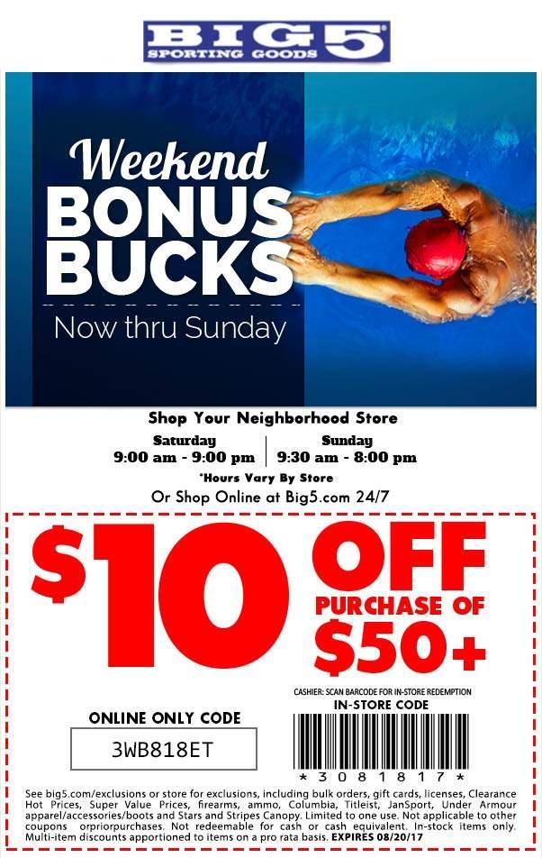 Big 5 Coupon December 2018 $10 off $50 at Big 5 sporting goods, or online via promo code 3WB818ET