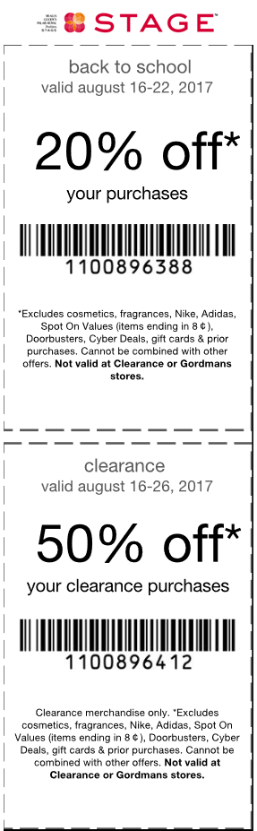 Stage Coupon October 2018 20-50% off at Stage stores