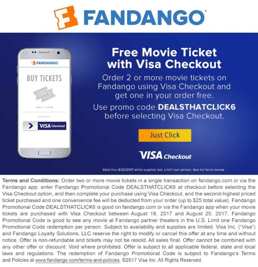 Fandango Coupon April 2019 Second movie ticket free today at Fandango via promo code DEALSTHATCLICK6