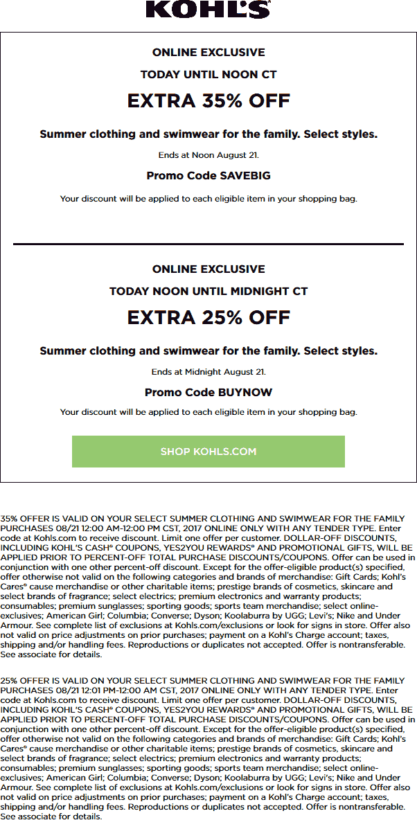 Kohls Coupon August 2018 35% off Summer online today til noon at Kohls via promo code SAVEBIG