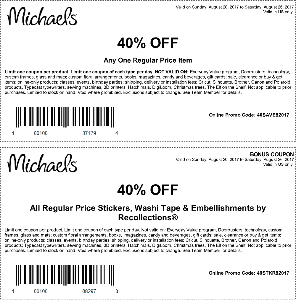 Michaels Coupon June 2018 40% off a single item at Michaels, or online via promo code 40SAVE82017